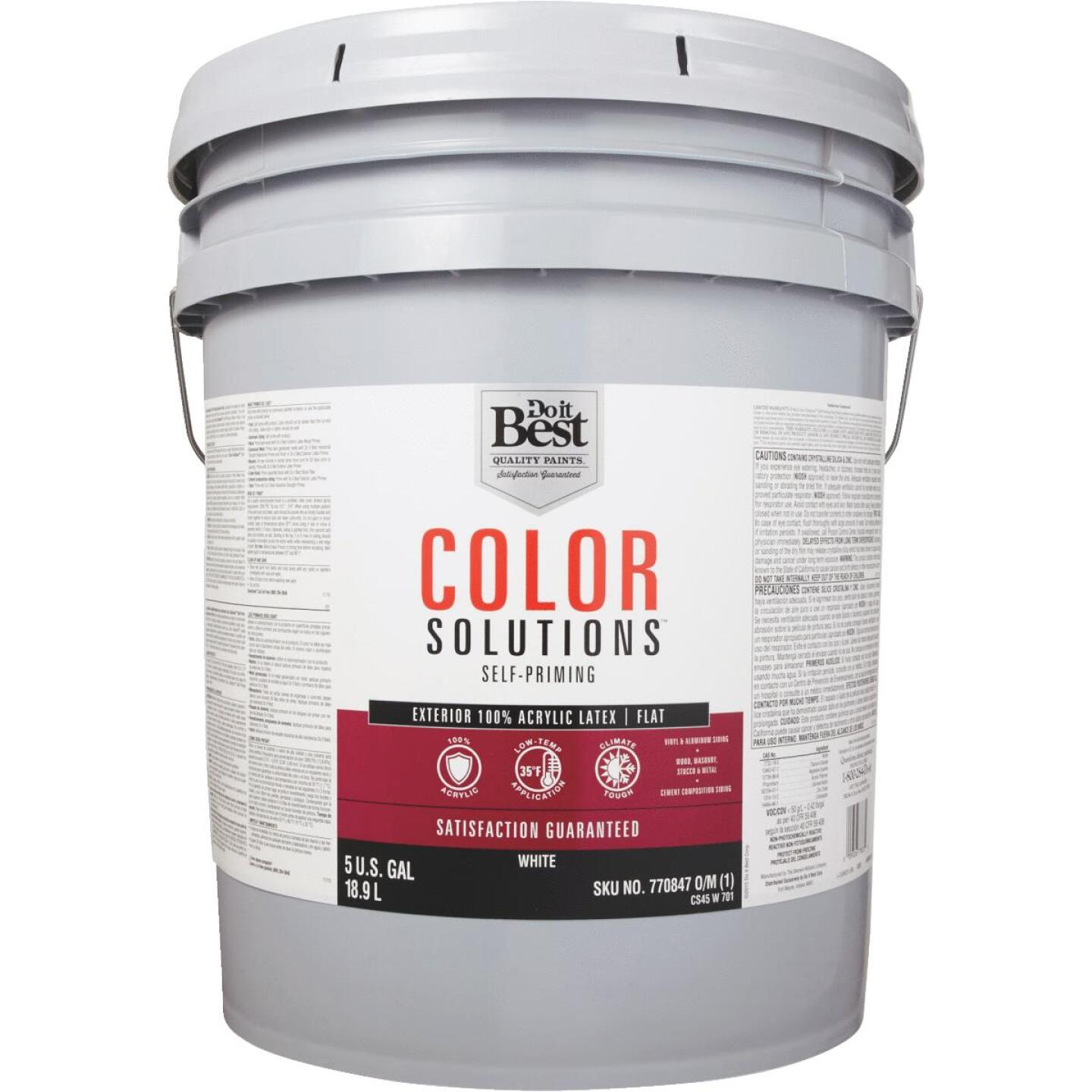 Do it Best Color Solutions 100% Acrylic Latex Self-Priming Flat Exterior House Paint, White, 5 Gal. Image 2
