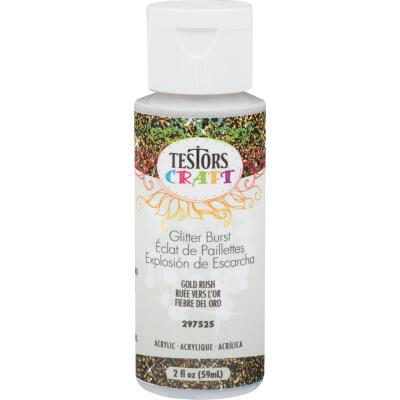 Testors 2 Oz. Acrylic Glitter Craft Paint, Gold Rush