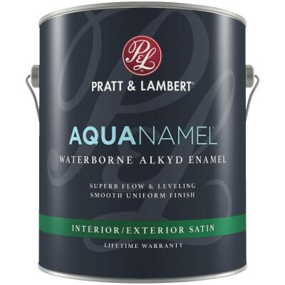 Pratt & Lambert Aquanamel Waterborne Alkyd Satin Interior/Exterior Enamel, Bright White Base, 1 Gal.