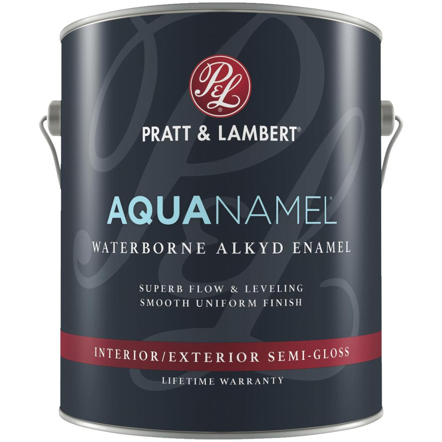Pratt & Lambert Aquanamel Waterborne Alkyd Semi-Gloss Interior/Exterior Enamel, Bright White Base, 1 Gal. Image 1
