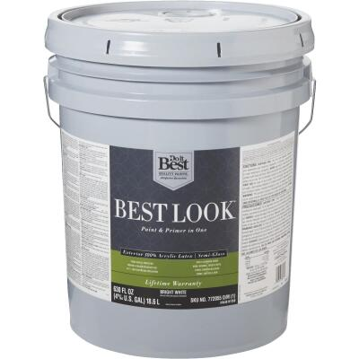 Best Look 100% Acrylic Latex Paint & Primer In One Semi-Gloss Exterior House Paint, Bright White, 5 Gal.