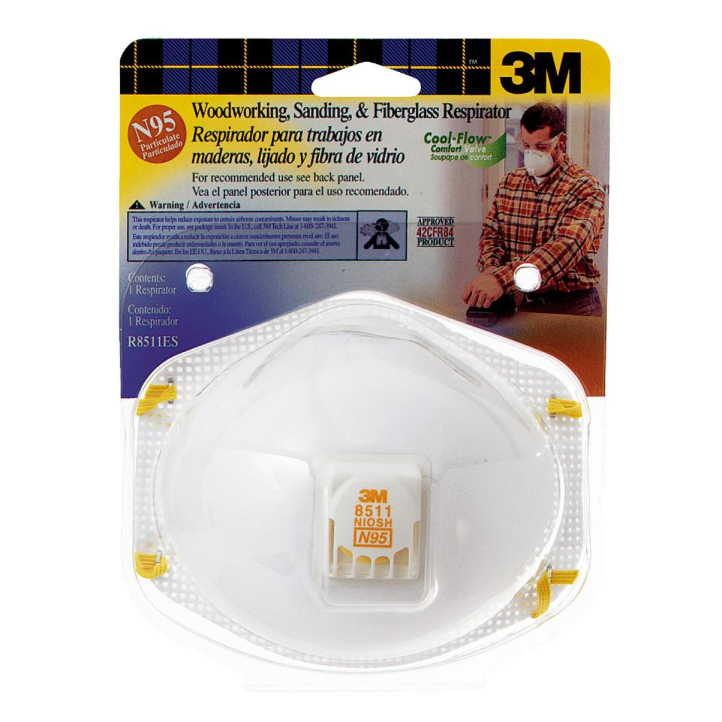 3M N95 Woodworking, Sanding and Fiberglass Valved Respirator Image 1