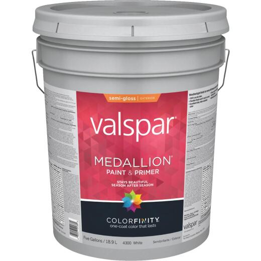Valspar Medallion 100% Acrylic Paint & Primer Semi-Gloss Exterior House Paint, White, 5 Gal.