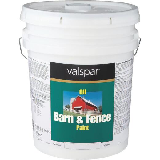 Valspar Oil Paint & Primer In One Low Sheen Barn & Fence Paint, Red, 5 Gal.