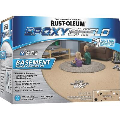 Rust-Oleum EPOXYSHIELD Satin Basement Floor Coating Kit, Tan, 120 Oz.