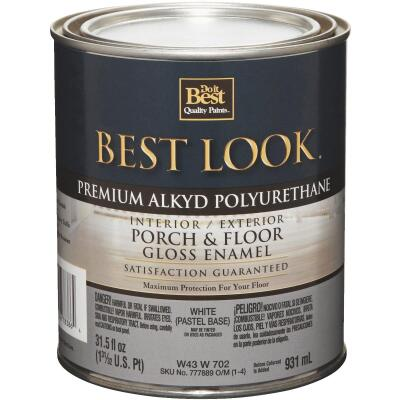 Best Look 1 Qt. White Pastel Base Polyurethane Gloss Porch & Floor Enamel