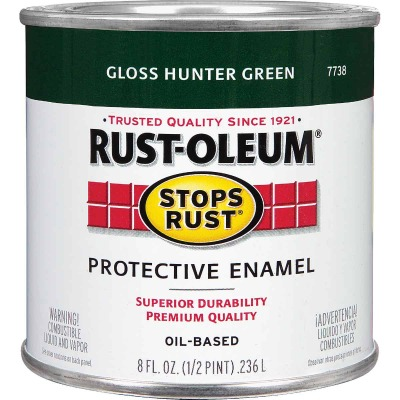 Rust-Oleum Stops Rust Oil Based Gloss Protective Rust Control Enamel, Hunter Green, 1/2 Pt.