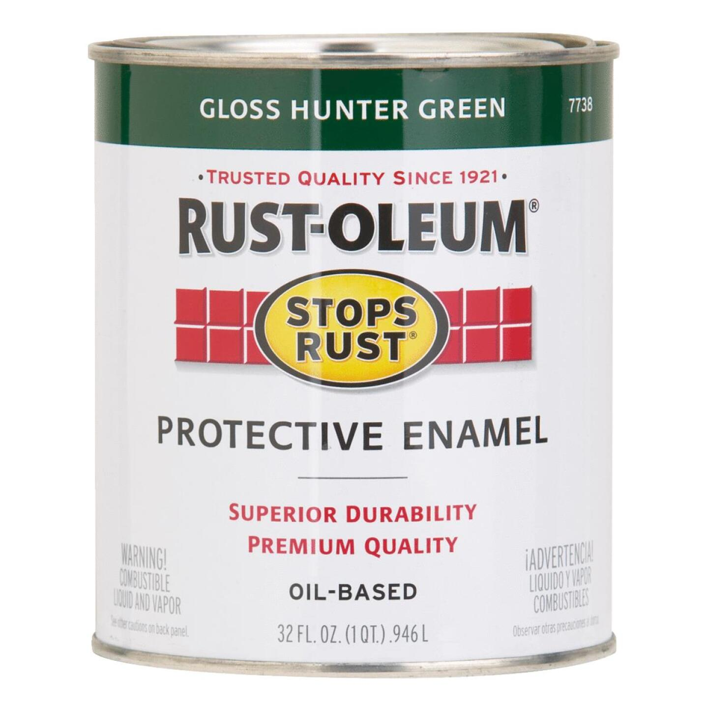 Rust-Oleum Stops Rust Oil Based Gloss Protective Rust Control Enamel, Hunter Green, 1 Qt. Image 1
