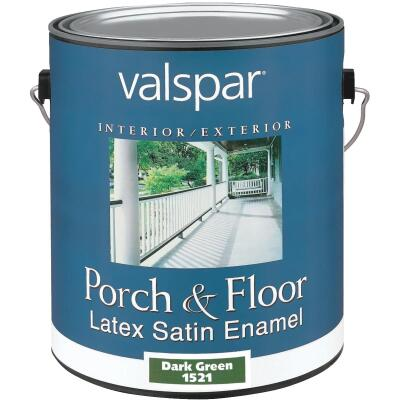 Valspar 1 Gal. Dark Green Self Priming Latex Satin Porch & Floor Enamel