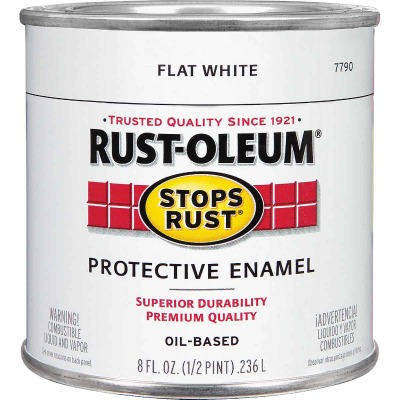 Rust-Oleum Stops Rust Oil Based Flat Protective Rust Control Enamel, White, 1/2 Pt.
