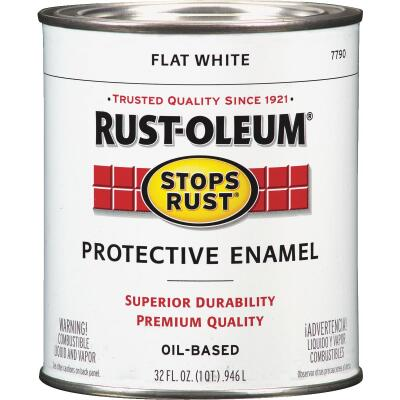 Rust-Oleum Stops Rust Oil Based Flat Protective Rust Control Enamel, White, 1 Qt.