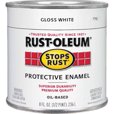 Rust-Oleum Stops Rust Oil Based Gloss Protective Rust Control Enamel, White, 1/2 Pt.