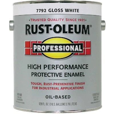 Rust-Oleum Professional Oil Based Gloss Protective Rust Control Enamel, White, 1 Gal.