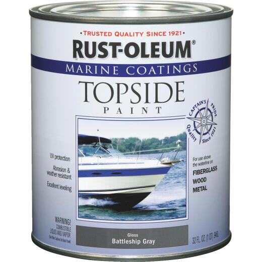 Rust-Oleum Gloss Marine Boat Topside Paint, Battle Gray, 1 Qt.