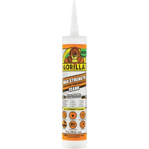 Gorilla 9 Oz. Clear Max Strength Construction Adhesive