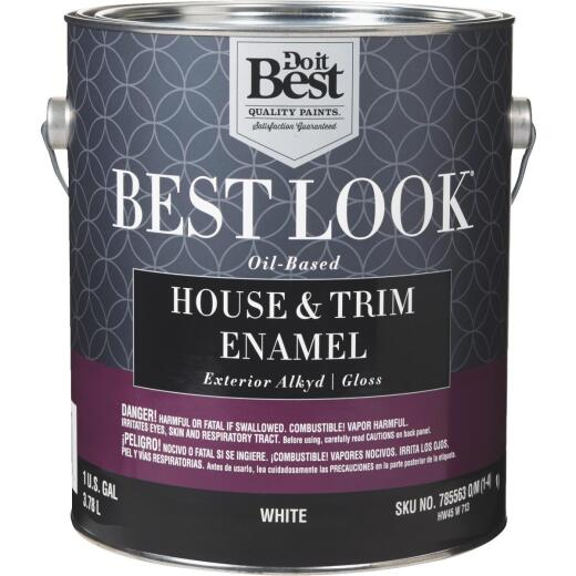Best Look Oil-Based Alkyd Gloss Exterior House & Trim Enamel Paint, White, 1 Gal.