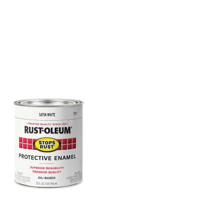 Rust-Oleum Stops Rust Oil Based Satin Protective Rust Control Enamel, White, 1 Qt.