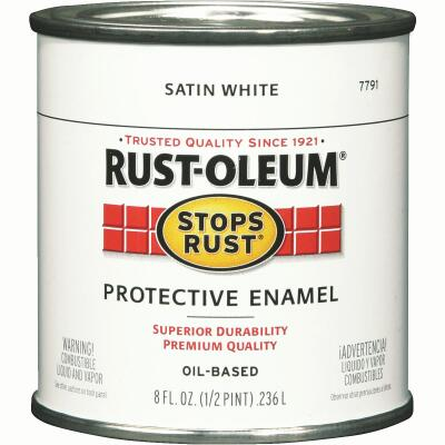 Rust-Oleum Stops Rust Oil Based Satin Protective Rust Control Enamel, White, 1/2 Pt.