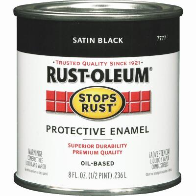 Rust-Oleum Stops Rust Oil Based Satin Protective Rust Control Enamel, Black, 1/2 Pt.