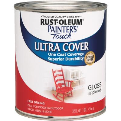 Rust-Oleum Painter's Touch 2X Ultra Cover Premium Latex Paint, Apple Red, 1 Qt.