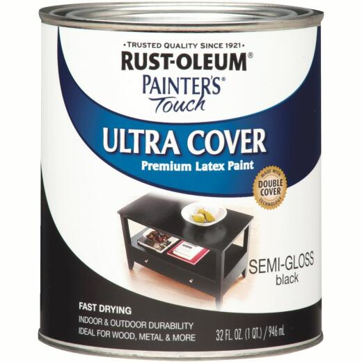 Rust-Oleum Painter's Touch 2X Ultra Cover Premium Latex Paint, Black, 1 Qt.