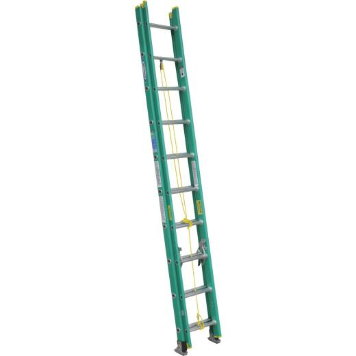 Werner 20 Ft. Fiberglass Extension Ladder with 225 Lb. Load Capacity Type II Duty Rating