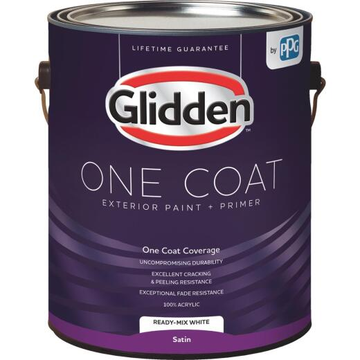 Glidden One Coat Exterior Paint + Primer Satin Ready Mix White 1 Gallon