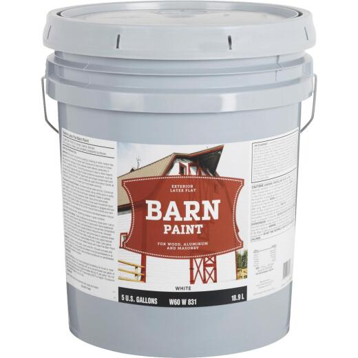 Do it Best Latex Flat Exterior Barn Paint, White, 5 Gal.