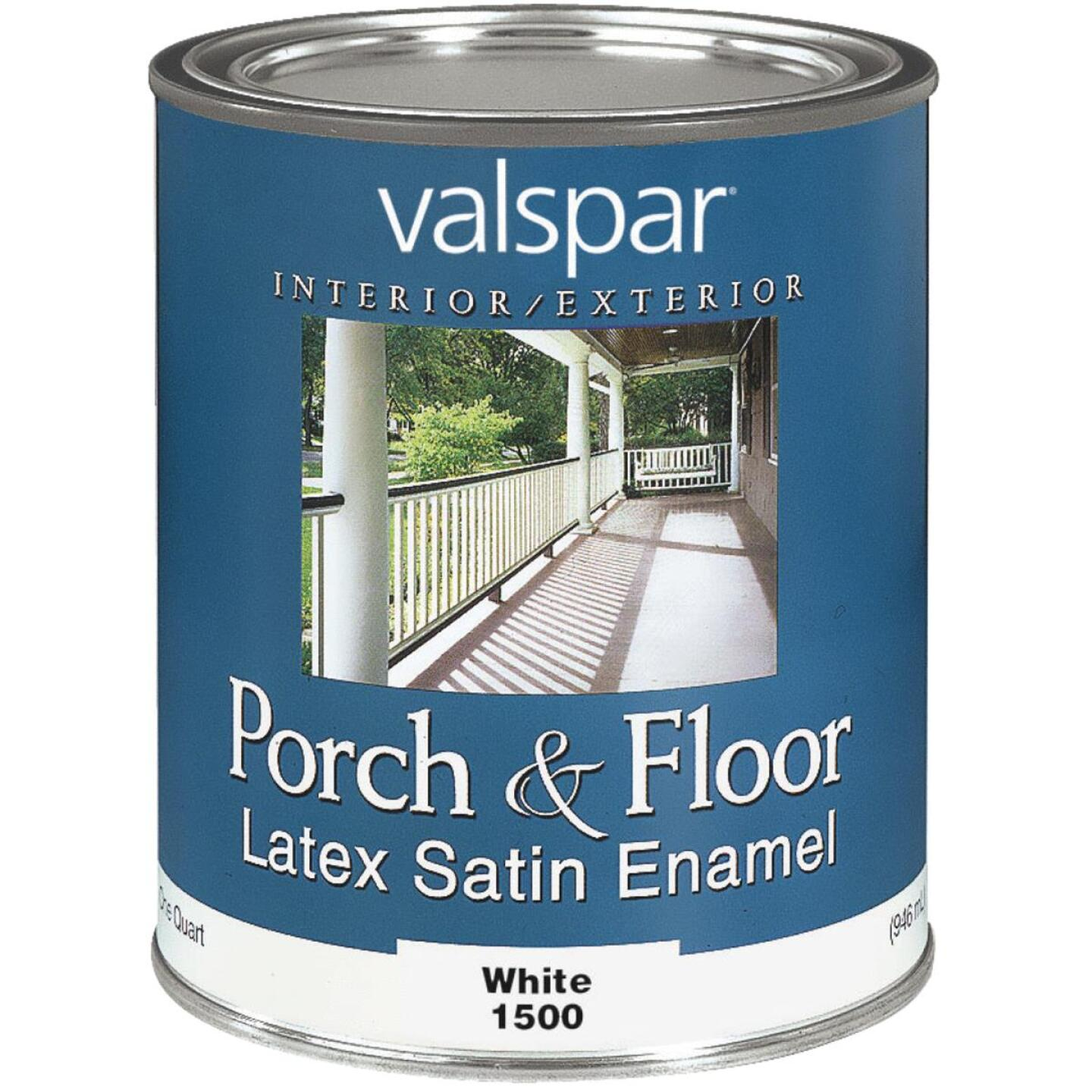 Valspar 1 Qt. White Self Priming Latex Satin Porch & Floor Enamel Image 1