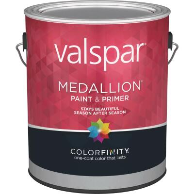 Valspar Medallion 100% Acrylic Paint & Primer Semi-Gloss Exterior House Paint, Black, 1 Gal.