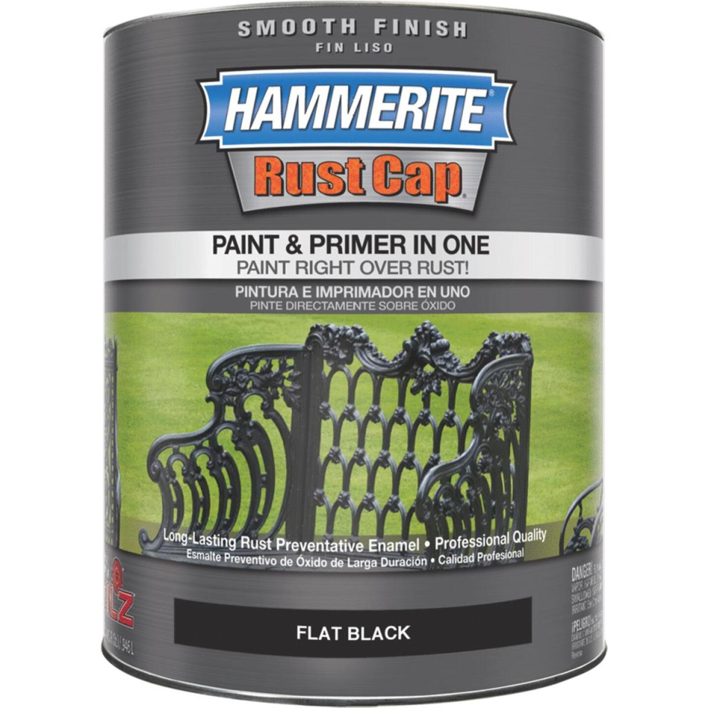Hammerite Rust Cap Oil-Based Flat Smooth Rust Control Enamel, Black, 1 Qt. Image 1