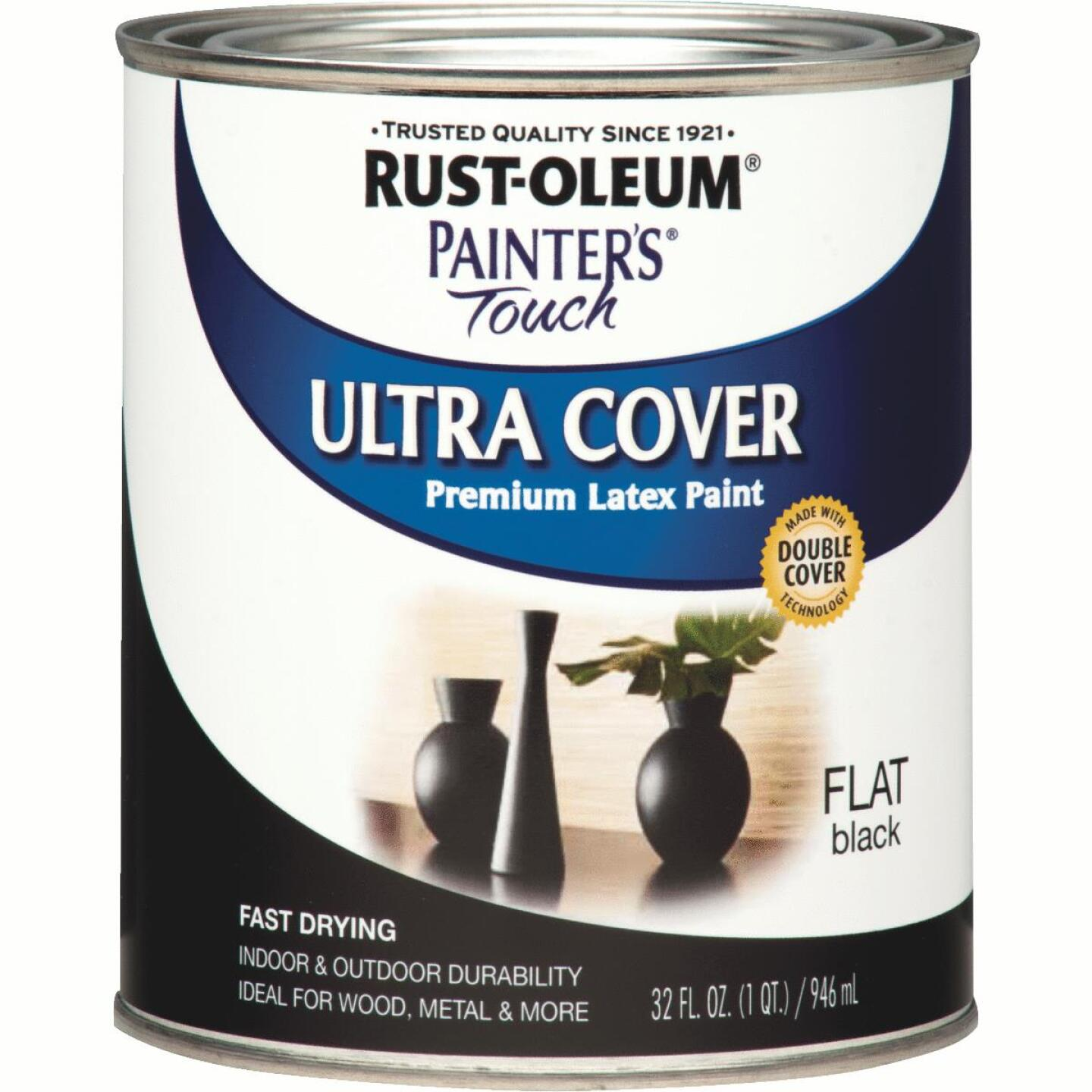 Rust-Oleum Painter's Touch 2X Ultra Cover Premium Latex Paint, Flat Black, 1 Qt. Image 1