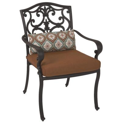 Pacific Casual Portofino Black Aluminum Dining Chair with Cushion