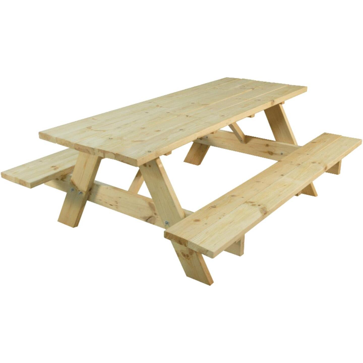 Outdoor Essentials 6 Ft. Natural Untreated Picnic Table with Benches Image 1