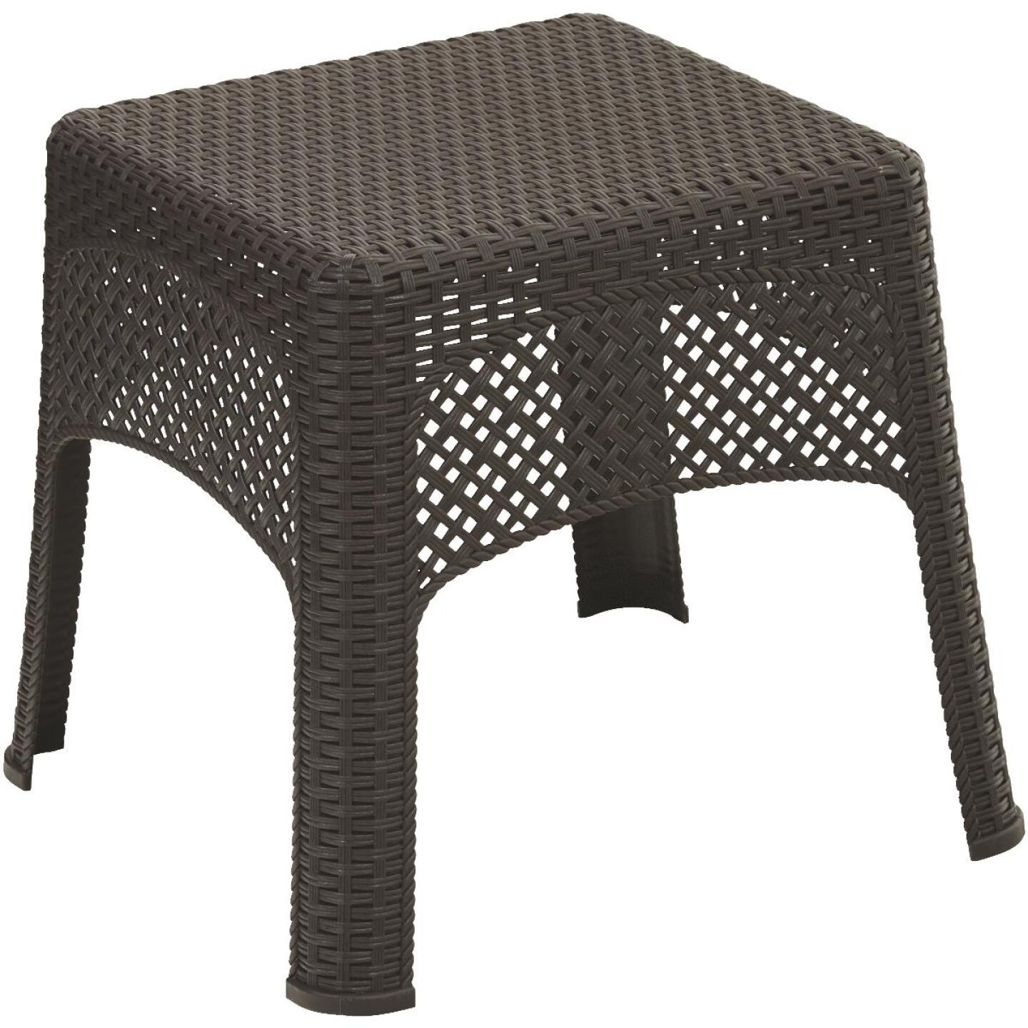 Adams Earth Brown 18.5 In. Square Woven Poly Side Table Image 1