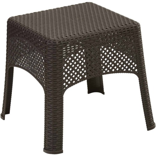 Adams Earth Brown 18.5 In. Square Woven Poly Side Table