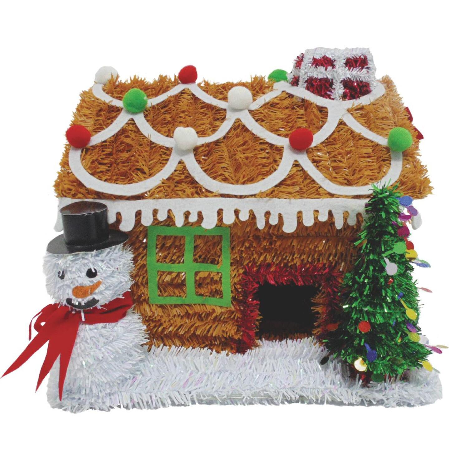 Youngcraft 9 In. Tinsel Tabletop Gingerbread House Holiday Decoration Image 1