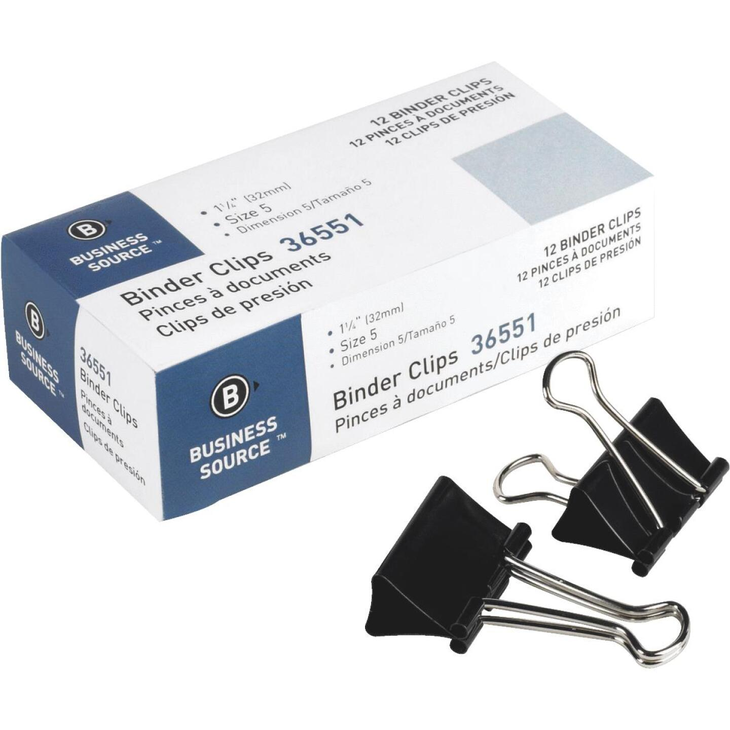 Business Source 1.25 In. W. Medium Binder Clips (12-Pack) Image 1